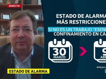 Guillermo Fernánez Vara, presidente de Extremadura,en El Objetivo.