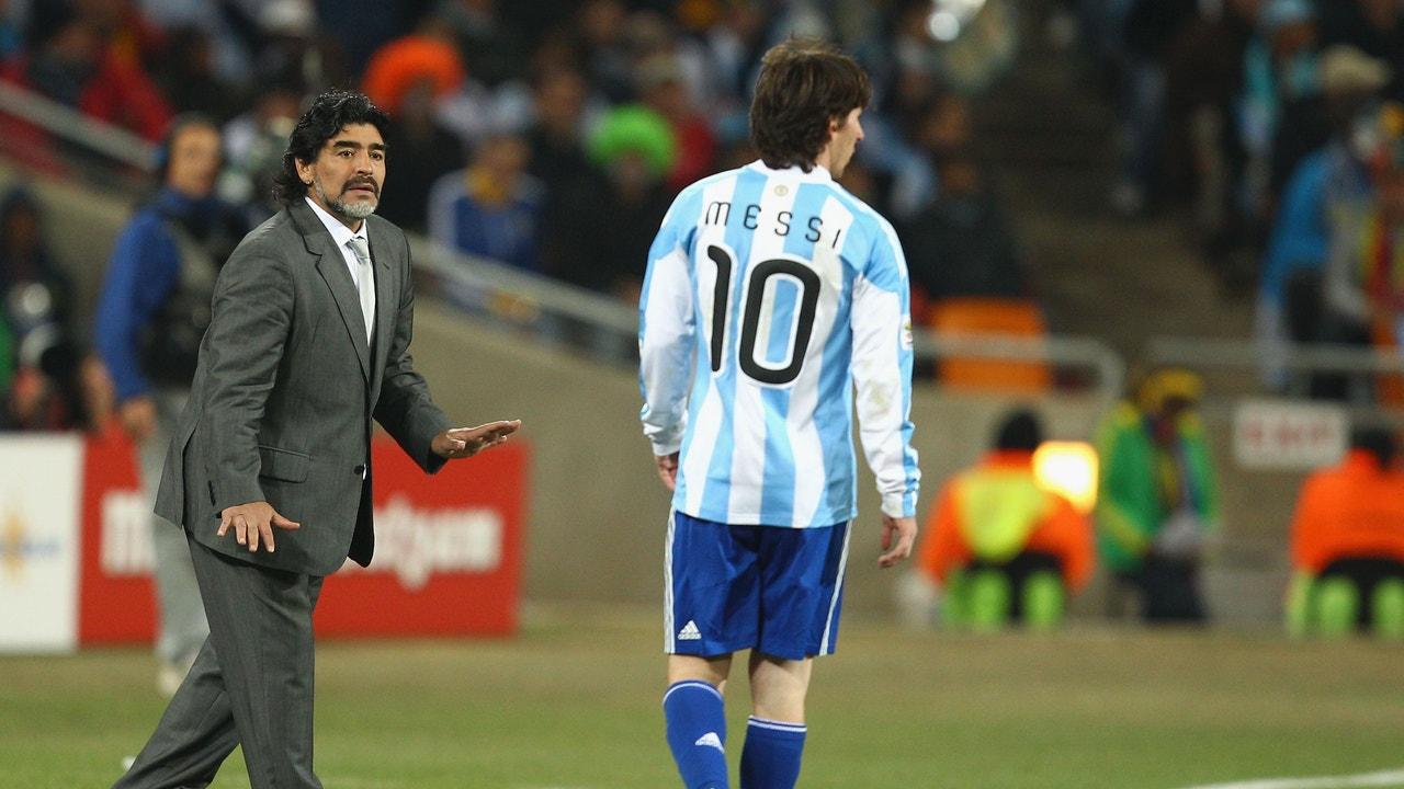 Diego Maradona y Leo Messi