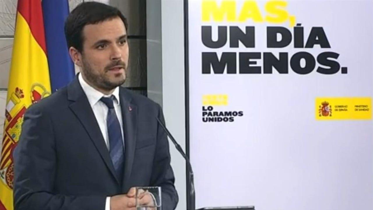 El ministro de Consumo Alberto Garzón, durante una rueda de prensa