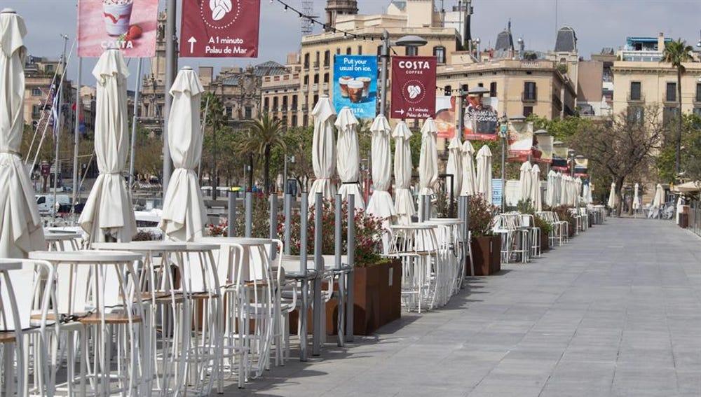 Terrazas vacías en Barcelona
