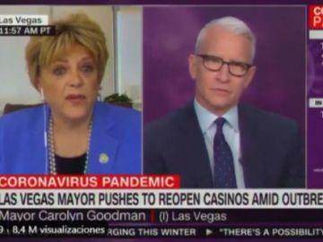 La alcaldesa Carolyn Goodman, en una entrevista en la CNN