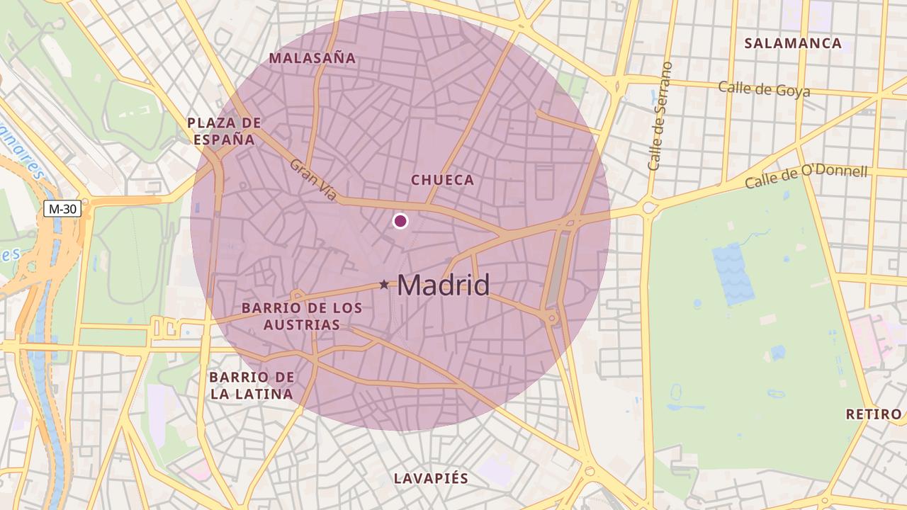 Mapa para comprobar la distancia máxima que se puede recorrer