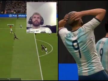 Sergio Agüero, jugando al FIFA 20