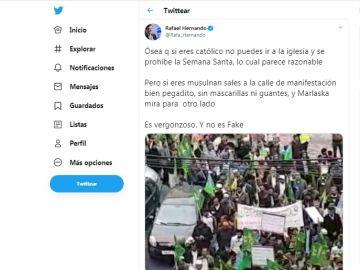 """Rafael Hernando comparte un bulo en sus redes y asegura que """"no es fake"""""""