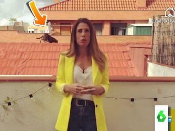 Isabel Zubiaurre dando el tiempo desde su casa en laSexta