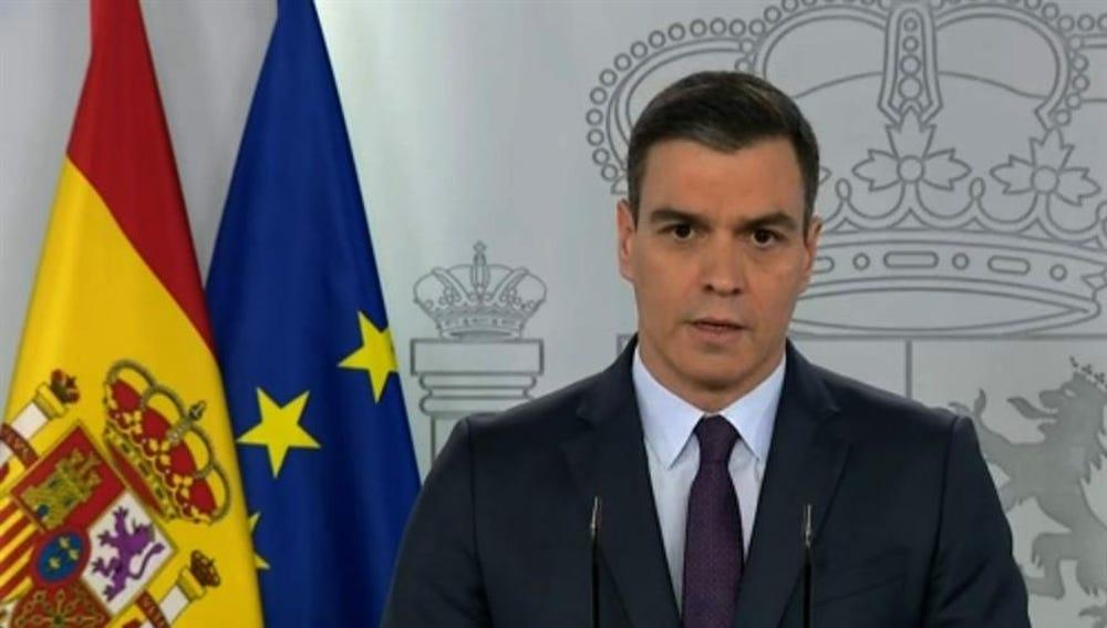 del presidente del gobierno, Pedro Sánchez, durante la rueda de prensa del pasado sábado,