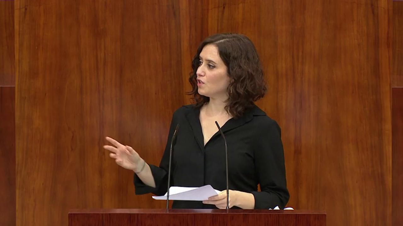 Isabel Díaz Ayuso, en la Asamblea de Madrid
