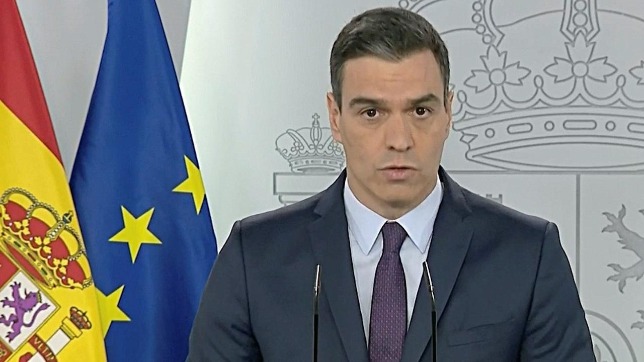 Pedro Sánchez en rueda de prensa en La Moncloa