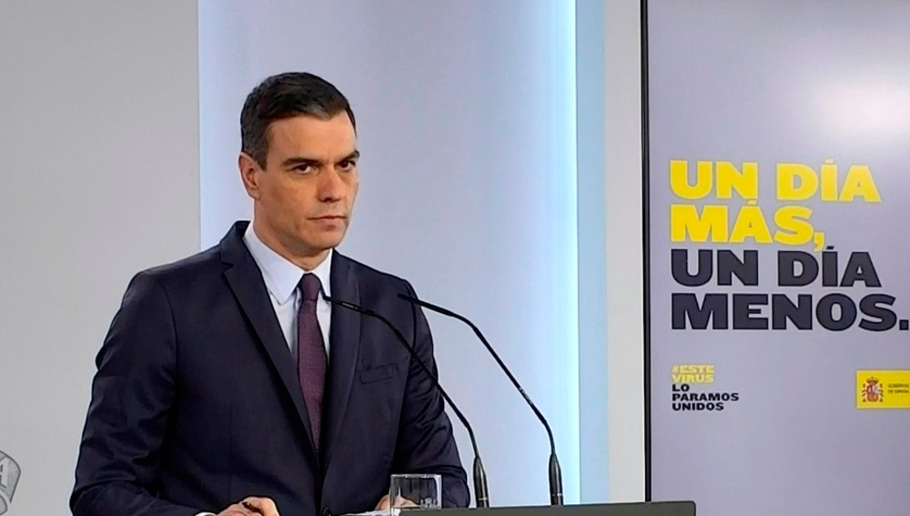 Pedro Sánchez, durante su comparecencia de este sábado, 2 de mayo