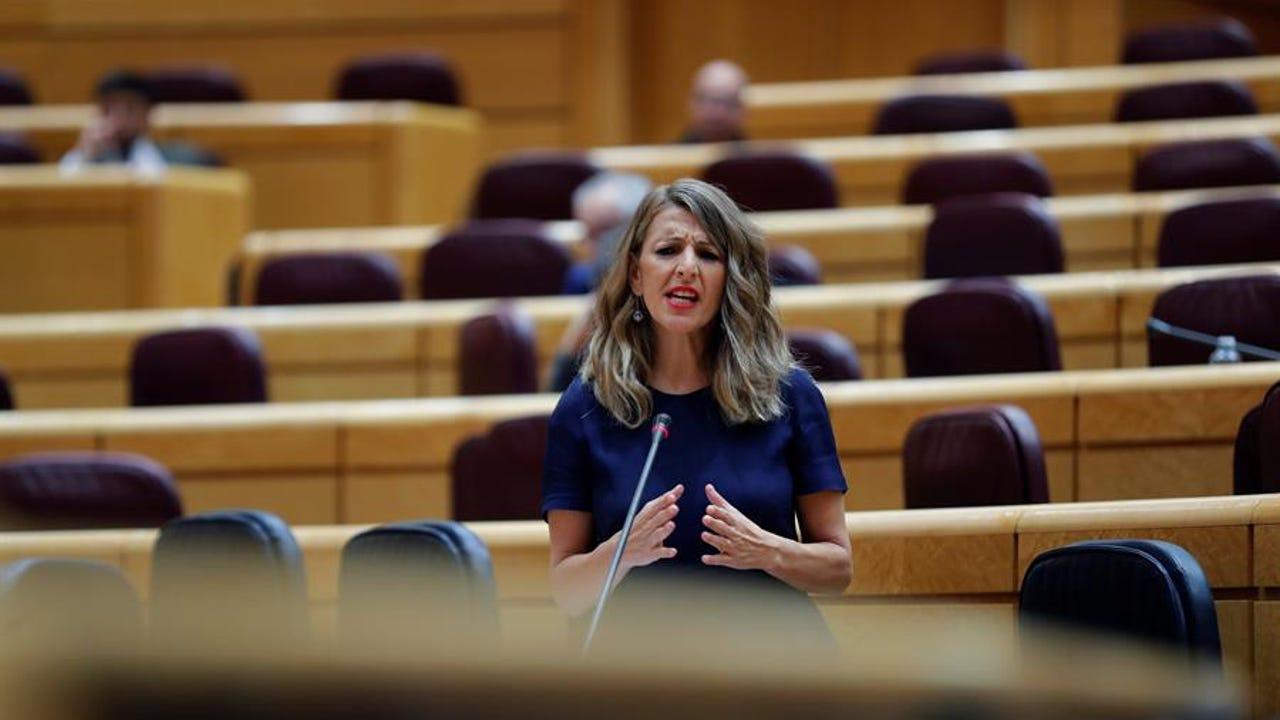 La ministra de Trabajo, Yolanda Díaz, durante la sesión de control al Gobierno en el Senado