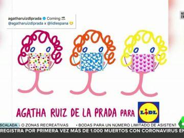 Agatha Ruiz de la Prada crea mascarillas con fondos destinados a las familias más afectadas por la pandemia