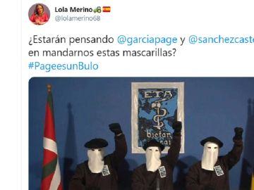 Imagen de un tuit de Lola Merino, portavoz del PP en las Cortes de Castilla-La Mancha