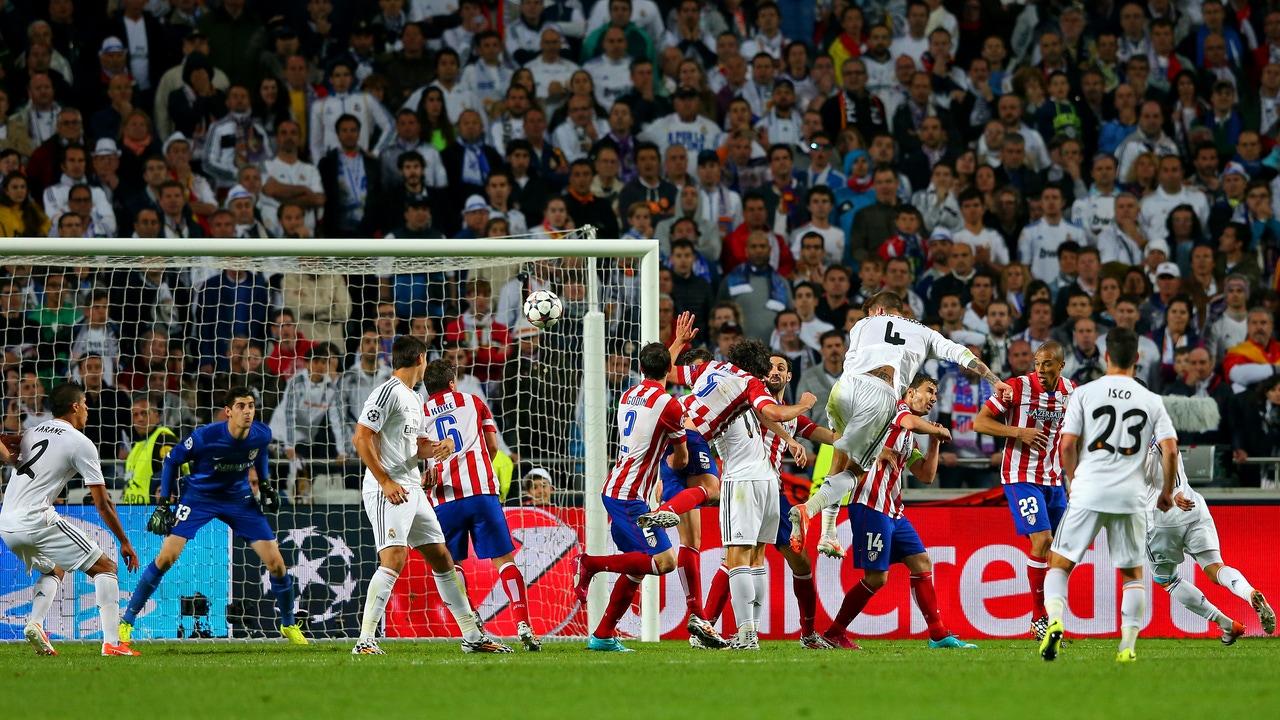 Sergio Ramos empatando la final de Lisboa