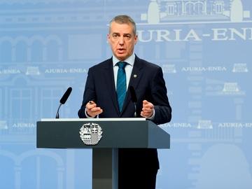 El lehendakari, Iñigo Urkulli, durante una comparecencia