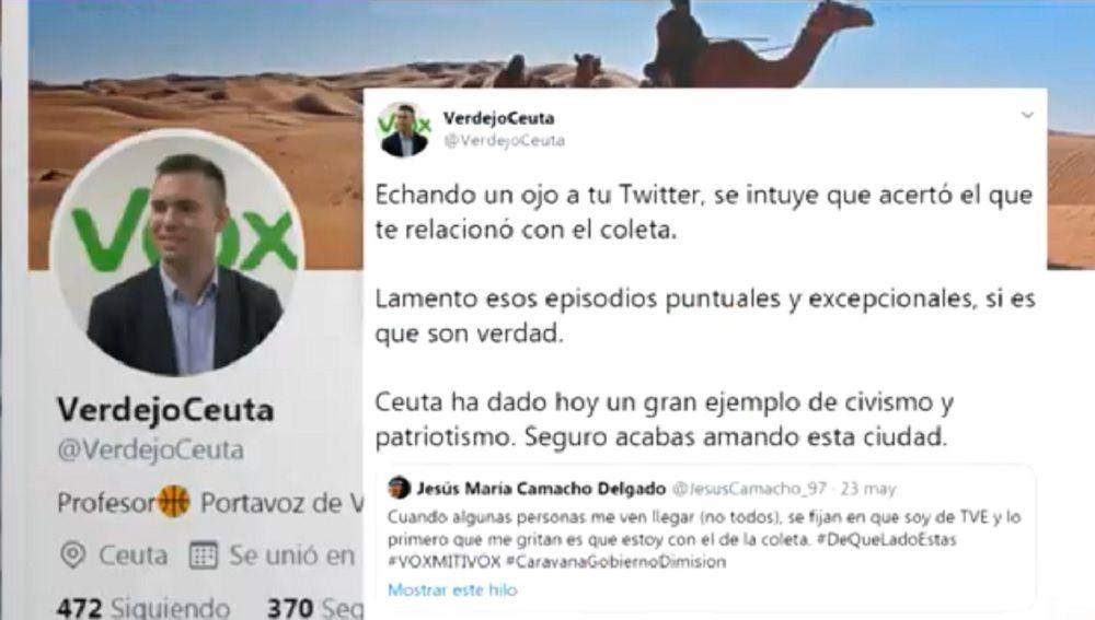 Imagen de un tuit del portavoz de Vox en Ceuta