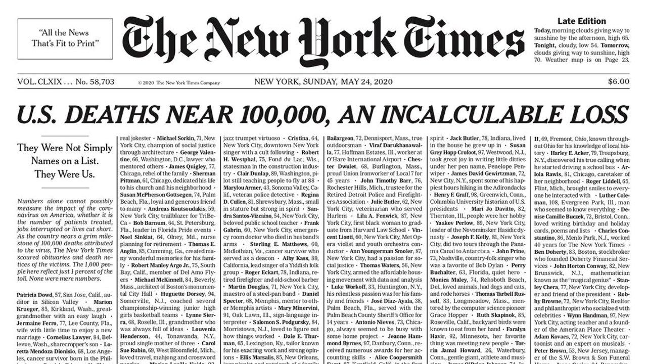 La portada del 'New York Times' con el 1% de las víctimas del coronavirus en Estados Unidos