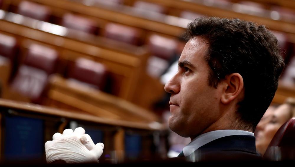El secretario general del PP, Teodoro García Egea, durante un pleno del Congreso de los Diputados