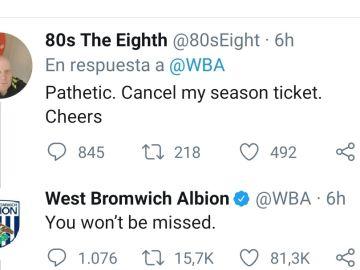 Respuesta del West Bromwich a un aficionado.
