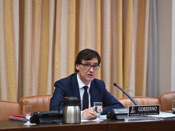 El ministro de Sanidad, Salvador Illa, durante su comparecencia en la Comisión correspondiente del Congreso