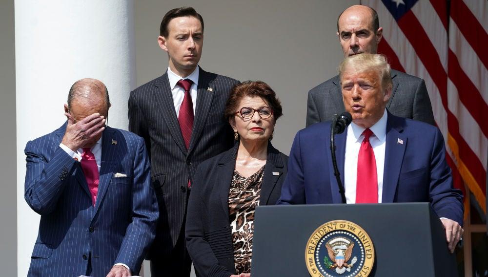 Donald Trump, durante su discurso analizando los datos del paro