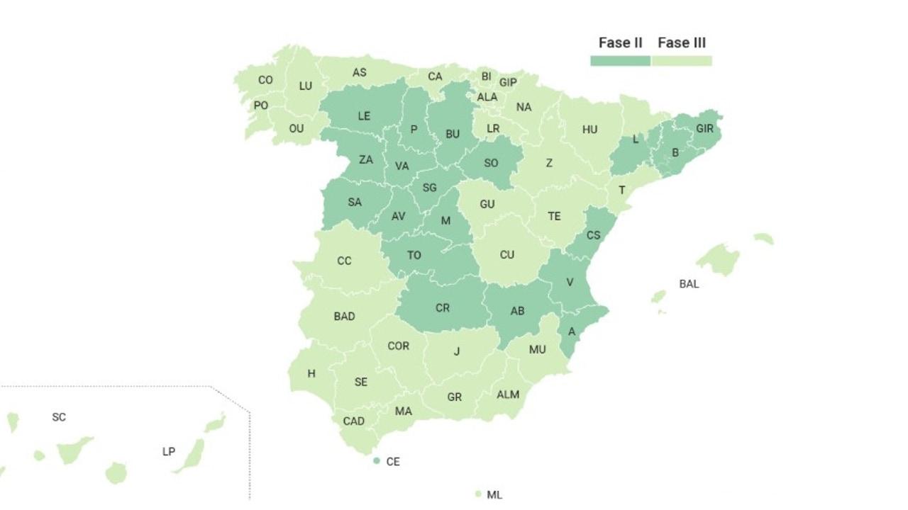 Mapa de la desescalada en España desde el 8J