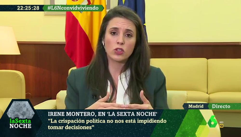 """Irene Montero, sobre la crispación en la política: """"A veces no podemos dejar sin respuesta palabras que vulneran los derechos humanos"""""""