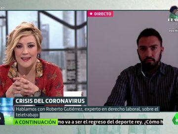 Cristina Pardo entrevista al experto en derecho laboral Roberto Gutiérrez
