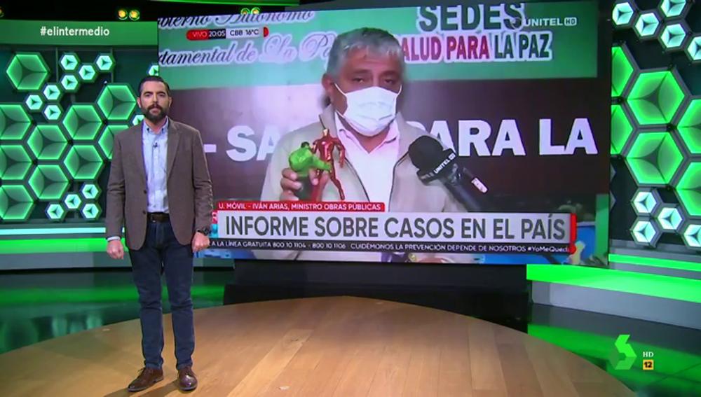"""Dani Mateo descubre al ministro de Bolivia que se convierte en 'Nick Furia' y """"reúne"""" a Los Vengadores para explicar la pandemia"""