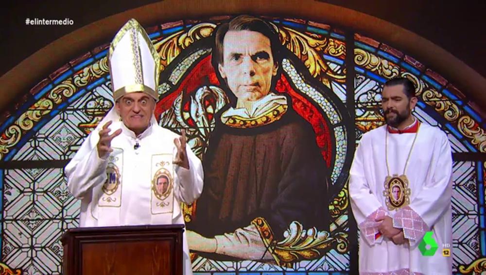 """El papa Wyoming y el monaguillo Dani Mateo dedican una oración a Aznar: """"Has venido a juzgar a rojos y titiriteros"""""""