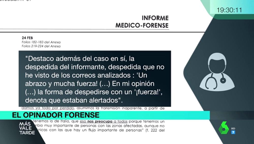 """Las interpretaciones del forense del 8M: """"La despedida del correo electrónico denota que estaban alertados"""""""