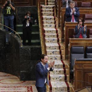 Pablo Iglesias en el Congreso antes de la votación del Ingreso Mínimo Vital