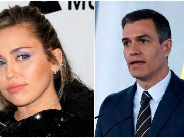 Miley Cyrus y Pedro Sánchez