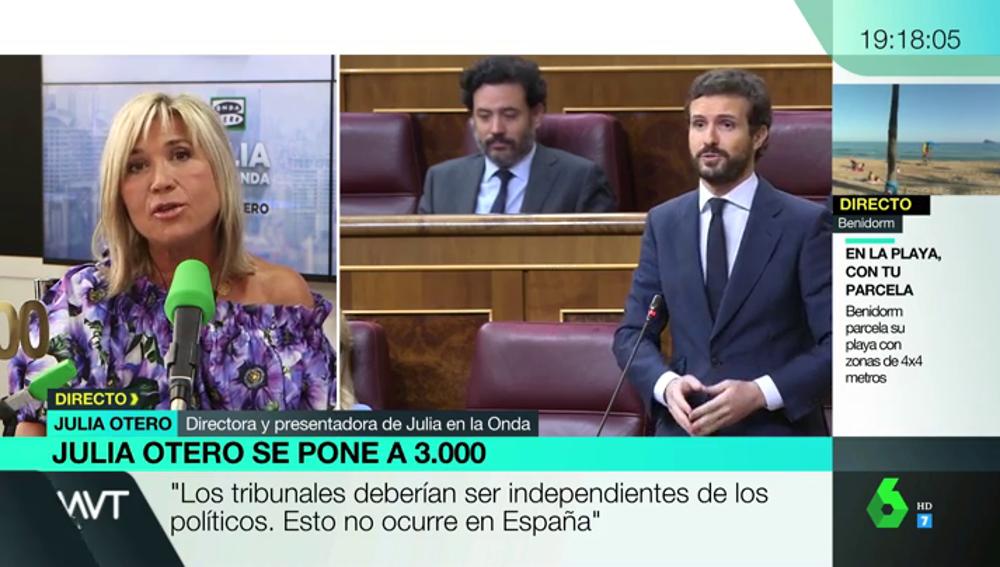 """Julia Otero, sobre la independencia judicial: """"No se puede intentar conseguir lo que te niegan las urnas por otros métodos"""""""