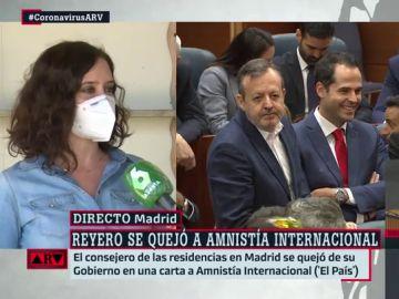 """Ayuso, sobre la carta de Reyero a Amnistía Internacional por el trato en las residencias de Madrid: """"Es incomprensible e innecesaria"""""""