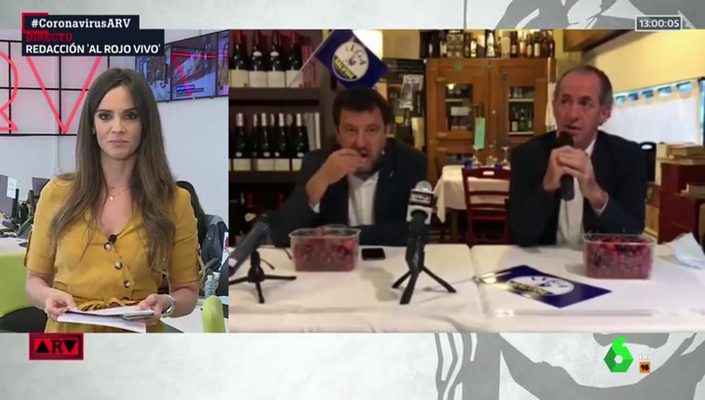 Matteo Salvini, en el foco de la polémica por comer cerezas en una rueda de prensa mientras habla de la muerte de tres bebés
