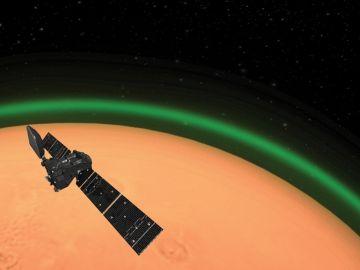 Imagen del 'resplandor verde' en Marte
