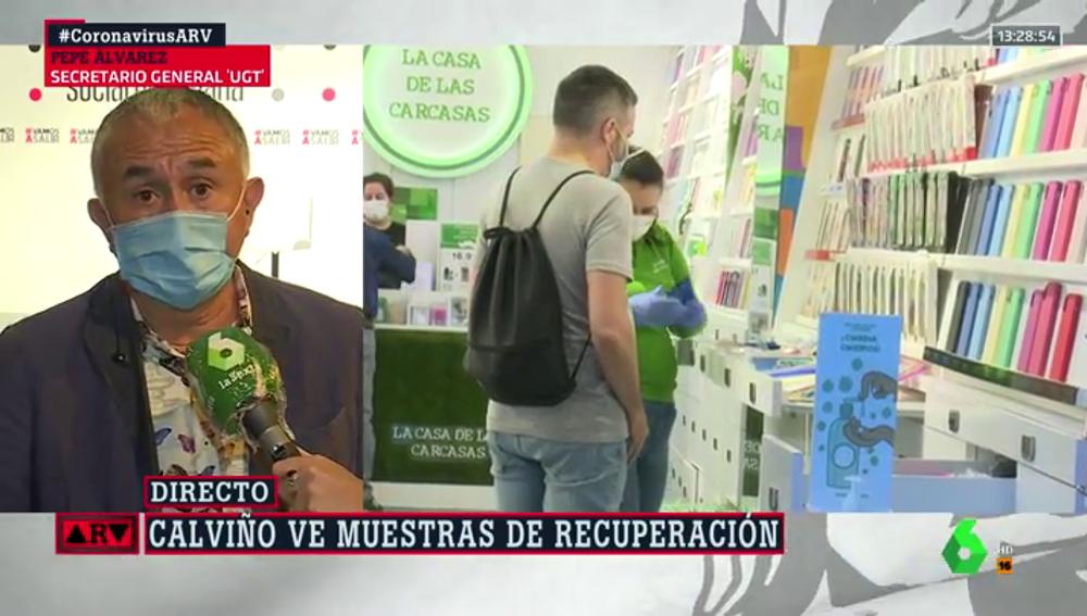 """Pepe Álvarez (UGT), convencido de que habrá acuerdo sobre los ERTE a lo largo del día: """"No hay razón para que no sea así"""""""