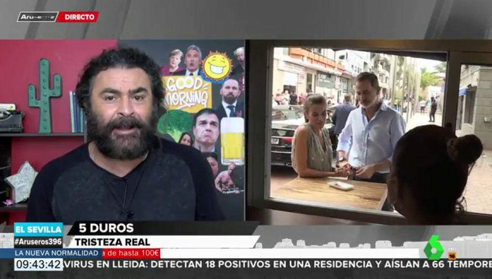 """La reacción de El Sevilla al """"apóyate en la barra"""" de la reina Letizia al rey Felipe en Canarias"""