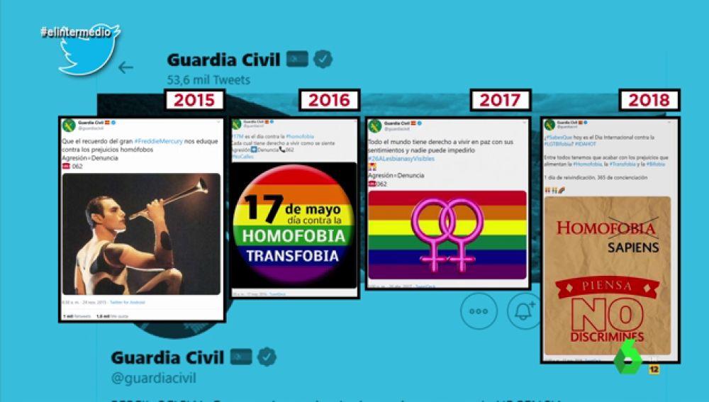 Estos son los tuits de la Guardia Civil en defensa del colectivo LGTBI desde 2015