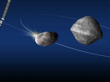 Imagen del proyecto: la nave DART y el asteroide Dimorphos