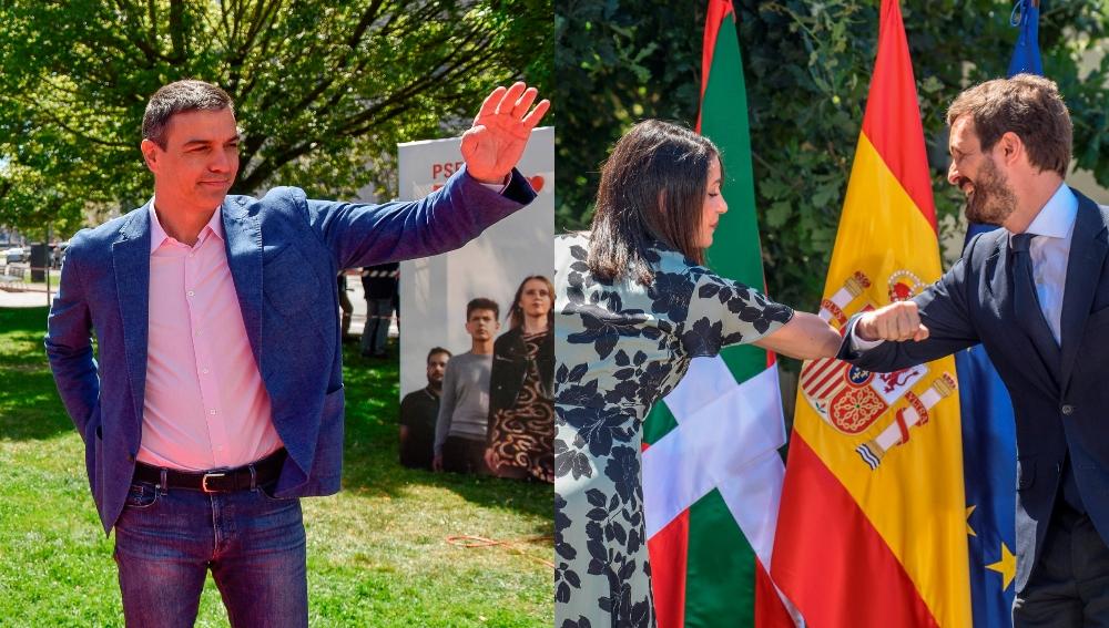 Sánchez, Casado y Arrimadas en actos electorales en el País Vasco