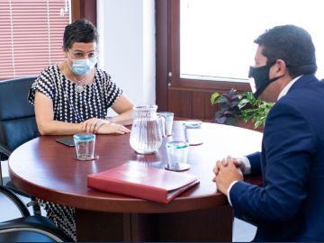 La ministra de Exteriores, Arancha González Laya, en su encuentro con Fabian Picardo.