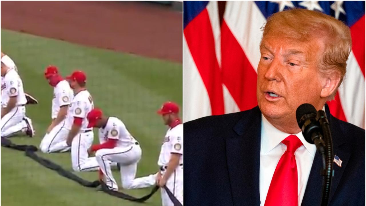 Jugadores de los Washington Nationals arrodillados y Donald Trump