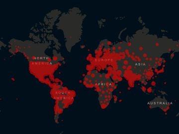 Mapa de afectados por el coronavirus en todo el mundo