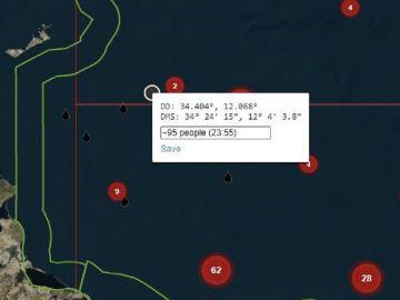 Imagen de las coordenadas donde se encuentra una patera con 95 migrantes