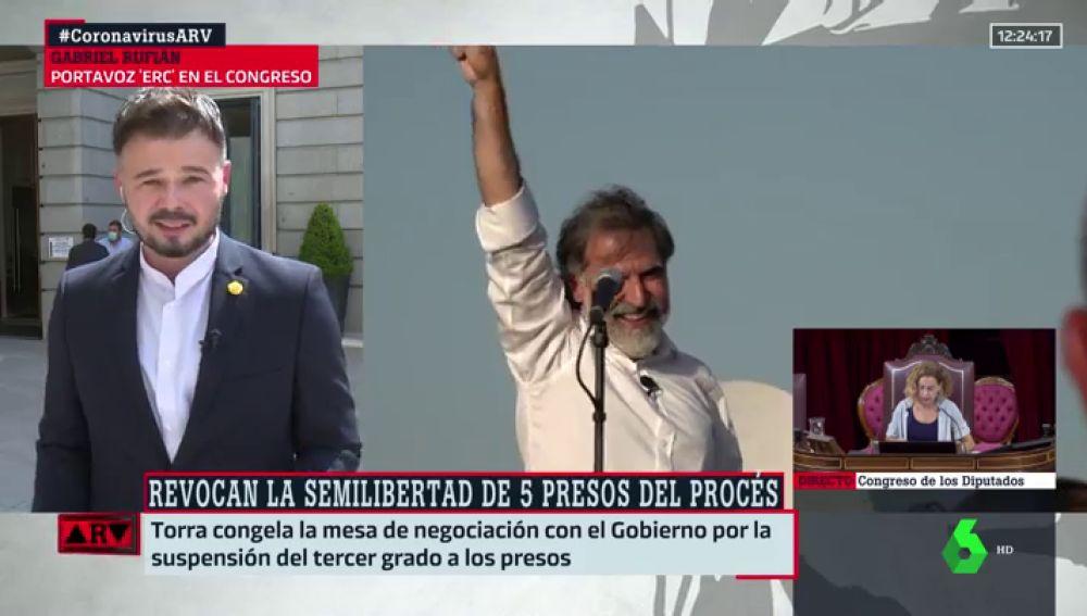 """Rufián, sobre el tuit de Iglesias en defensa la semilibertad de los presos del procés: """"Un vicepresidente puede hacer más"""""""