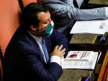El líder ultraderechista Matteo Salvini, durante la sesión en el Senado.