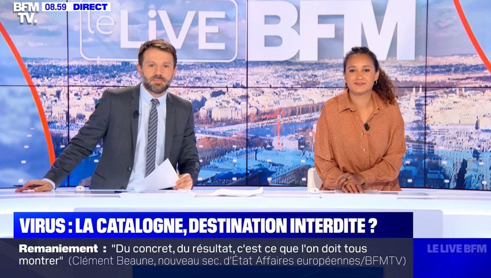 Captura del programa en el que la televisión francesa BFM TV califica a España como la apestada de Europa