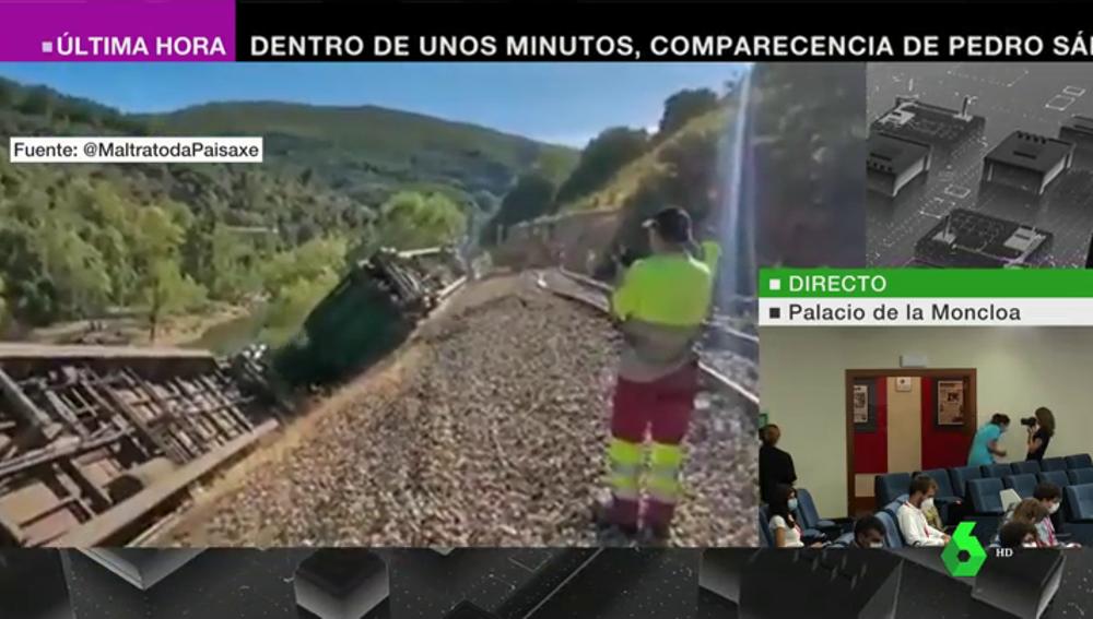 Arrojan al río Sil dos vagones del tren accidentado en Carballeda de Valdeorras, en Ourense