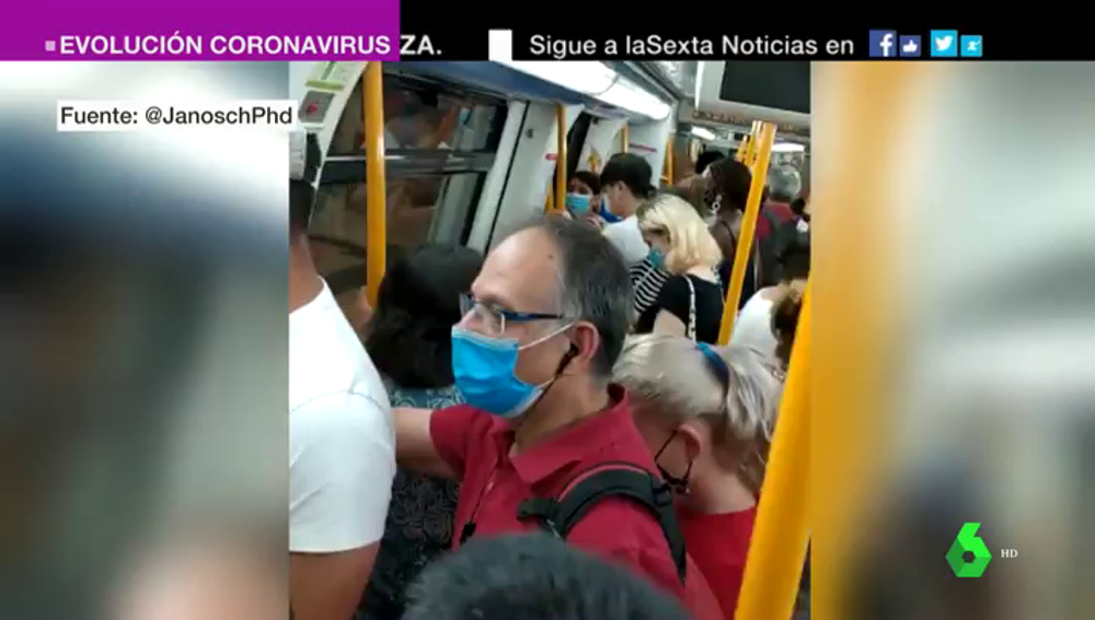 Las imágenes de las aglomeraciones en el Metro de Madrid: múltiples usuarios denuncian que no es posible guardar la distancia